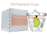 Modern Dining   100 Rose Gold Plastic Cups 9oz Rimmed Clear Premium 9oz Tumblers
