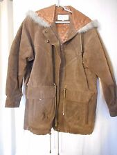 Hooded Leather Winter Coat Size M Zip front by d Linea