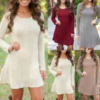 Womens Knitted Sweater Jumper Mini Dress Knitwear Winter Autumn Long Sleeve Tops
