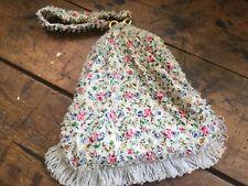 Vintage Koret Tresor Clear Beaded Pink Blue Floral Gypsy Scarf Purse Handbag