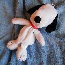 ASTUCCIO NUOVO SNOOPY TV figura giocattolo morbido peluche cane bianco con cerniera RARO