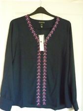 5d4aad874c4 Long Tall Sally Navy Embroidered Floral Blouse Top. UK 16 EUR 44 US 12.