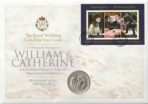 COOK ISLAND 14 JANUARY 2011 ROYAL ENGAGEMENT M/SHEET COIN FIRST DAY COVER