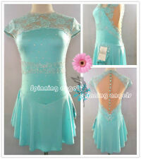 Figure Skating Dresses Custom Women Competition Skating Dress Girls Pale Blue