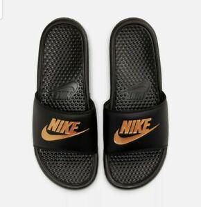Nike Men's Benassi JDI Slide Sandals Black/Metallic Gold 343880-016 size 8