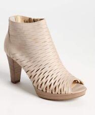 Paul Green $339 Pandora Cream Stone Leather Perforated Peep Toe Booties Sz 9