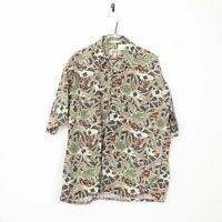 Vintage Abstract Short Sleeve Hawaiian Festival Shirt Brown | XL