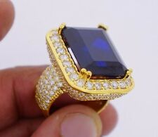 20 Carats Blue Stone & 8 Carat Diamonds Mens Ring Celebrity Style 10k Gold Video
