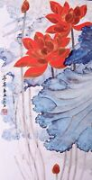 STUNNING ORIGINAL ASIAN FINE ART CHINESE WATERCOLOR PAINTING-Lotus flowers