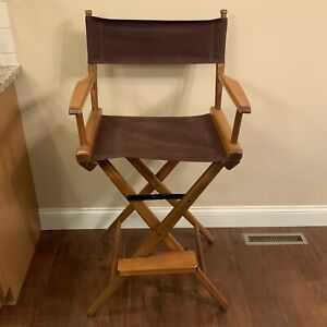 """Tall 46"""" Folding Directors Chair Wood Frame Canvas Fabric-Brown"""