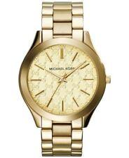 Michael Kors Ladies Slim Runway Watch Gold Bracelet Gold Dial MK3335
