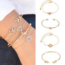 Women 4Pcs/Set Gold Leaf Knot Simple Adjustable Open Bangle Bracelets Jewelry