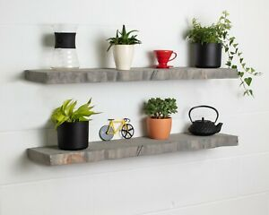 Grey Live Edge- Thick- Floating Shelf- Wax Finish-Brackets Included-Rustic Pine