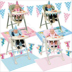 First 1st Birthday Highchair Decorations Kit Pink Blue Baby Girl Boy Party Decor