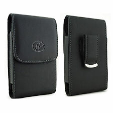 For Pantech Cell Phones Vertical Leather Holster fits w/ Thin Snap Case on