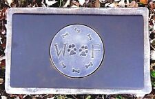 Dog Woof bench top mold plaster concrete small garden memorial mould