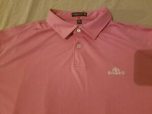 Mens Peter Millar Polo Shirt XL Pink Athletic Golf Daniel Island
