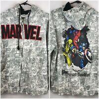 Marvel Vintage Comic Hoodie Universal Studios 2009 Adult L VTG Spiderman, Capt.