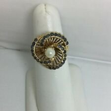 Ladies Pearls And Sapphire Solid Gold Ring (J39)