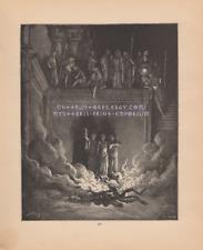 1886 ANTIQUE VINTAGE ART PRINT-King Babylon-Worship-Fire Furnace-False Idol