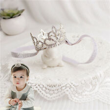Large Crystal Crown Tiara Slider Baby Headband, Girl, Toddler, Wedding, USA
