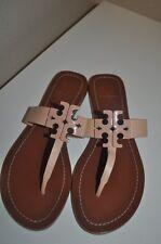 Tory Burch MOORE Light Oak Leather Thong Sandal Logo Shoe Sz 7.5 Flip Flop