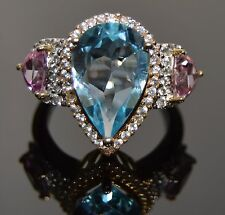Blue and Pink Topaz Cocktail Ring w/ White Sapphires in 14k White & Yellow Gold
