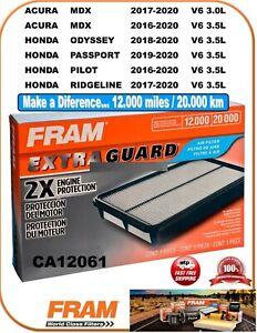 FRAM CA12061 Air Filter-Extra Guard Fit ACURA MDX 3.0 & 3.5L HONDA V6 3.5L 16-20