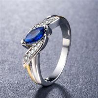Fashion Women 925 Silver Ring Marquise Cut Blue Sapphire Wedding Ring Size 6-10
