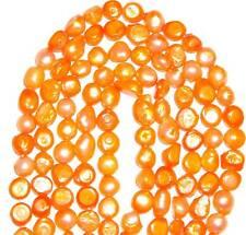 "NP180 Orange 9mm Flat-Sided Potato Cultured Freshwater Pearls 15"""