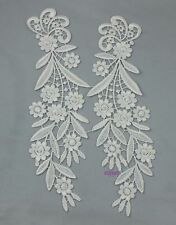 1 Pair DIY Off White Mirror Motif Venice Lace Bridal Dress Sewing Applique Craft