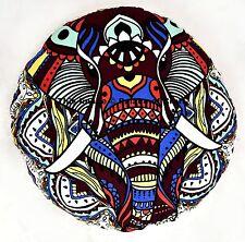 Indian Elephant Mandala Meditation Round Floor Cushion Cover Ottoman Pillow Sham