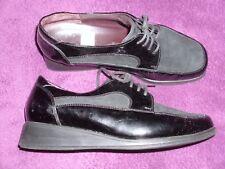 SIOUX Slipper Halbschuhe in Schwarzem Lackleder, Schnürschuhe, Größe 6 H, 39