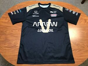 MENS USED LIGHTLY WORN JAMES HINCHCLIFFE AUTOGRAPHED INDY RACING PIT SHIRT XL