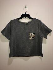 Anthropologie Weston Size Small Gray Short Sleeve Metallic Shirt Top Blouse