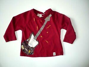 Langarm Shirt von ZARA in Gr.74/80 dunkelrot mit Motiv Gitarre