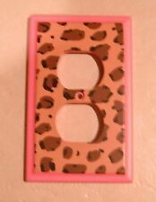 COMPANY STORE KIDS Pink Cheetah WALL OUTLET COVER Wood ANIMAL PRINT