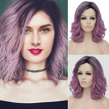 Black Purple Gradient Hair Lady Long Curly Wavy Ombre Full Wig Cosplay Party Wig