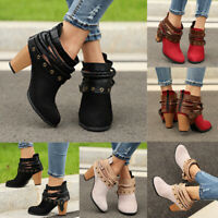 Women Martin Short Ankle Boots Strappy Mid Block Heels Zipper Casual Shoes Size