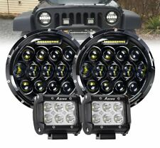"Pair 7"" inch Black For JEEP JK GQ PATROL Projector LED Headlight DRL + 4"" Pods"