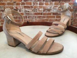 Isaac Mizrahi Natural Beige Suede Triple Strap Mabel Block Heel Dress Sandal New