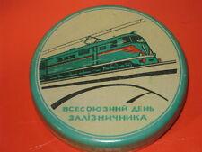 Vintage LOCOMOTIVE Soviet RAILROADS Tin Box OLD Russian Soviet Propaganda