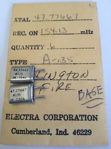 Lot Of 2 ELECTRA SCANNER CRYSTAL 154.130 10.8 IF .039 PINS