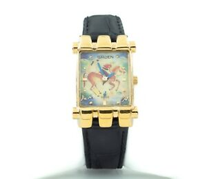 """Gruen Gold-Plated Quartz Watch w/ Leather Band """"The Polo Player"""" Nice"""