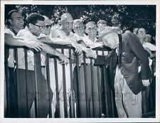 1962 Horse Trainer Sunny Jim Fitzsimmons Talks to Fans Belmont Press Photo