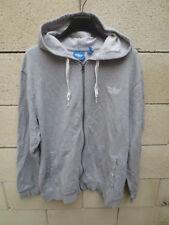 Veste à capuche ADIDAS rétro vintage gris style jogging tracktop jacket giacca L
