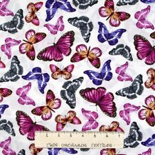 Animal Fabric - Papillon Purple Butterfly Toss on White - Benartex Kanvas YARD