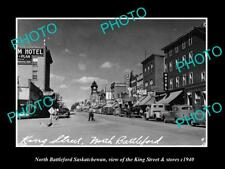 OLD LARGE HISTORIC PHOTO OF NORTH BATTLEFORD SASKATCHEWAN, KING St & STORES 1940