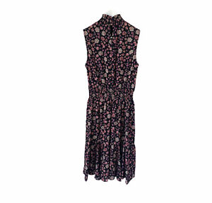 Women's Sleeveless Dress Nanette Size 4 Floral Print Polyester Black New $138