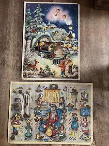 2 VTG HACO (188 & 182) Mica Glitter Advent Christmas Calendar West Germany  #HB4